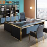 Blue-Red-Luxury-Modern-Home-Office-Furniture-Design-Gold-Computer-Leather-Table-Office-Table-Set-Standing