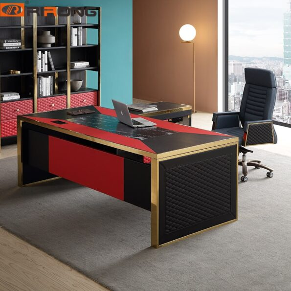 Blue-Red-Luxury-Modern-Home-Office-Furniture-Design-Gold-Computer-Leather-Table-Office-Table-Set-Standing-2