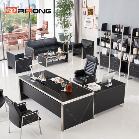 Blue-Red-Luxury-Modern-Home-Office-Furniture-Design-Gold-Computer-Leather-Table-Office-Table-Set-Standing-4