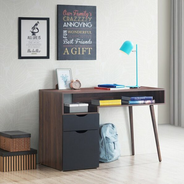 Computer-Desk-PC-Writing-Table-Drawer-Cabinet-with-Wood-Legs-HW62990-2