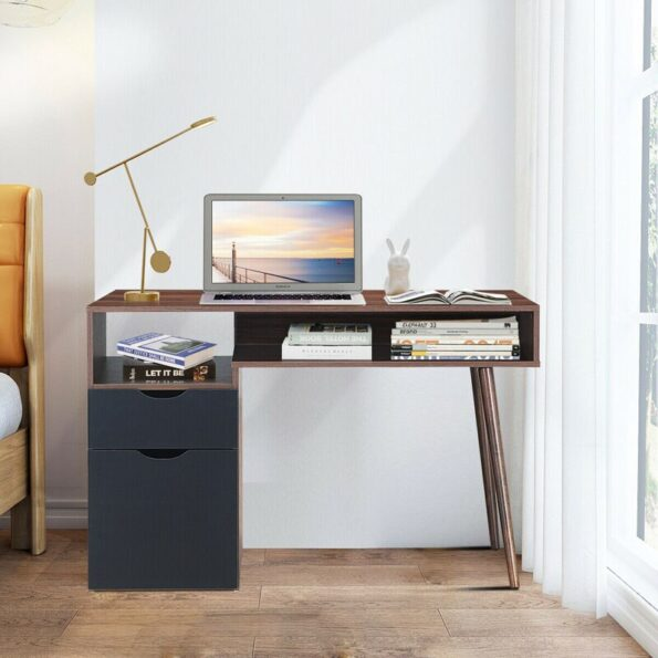Computer-Desk-PC-Writing-Table-Drawer-Cabinet-with-Wood-Legs-HW62990-3
