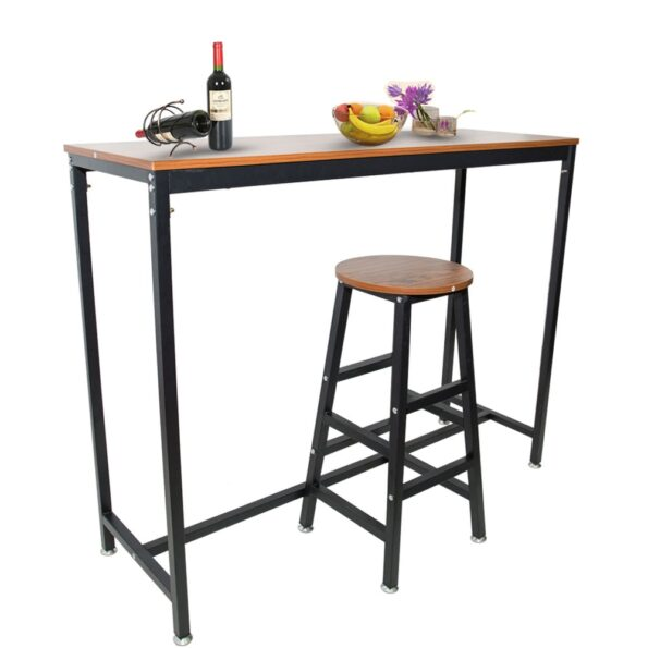 Pub-Bars-Wooden-Table-Bar-Stool-Vintage-Rectangular-Table-with-Metal-Frame-Top-Chair-for-Restaurant-1