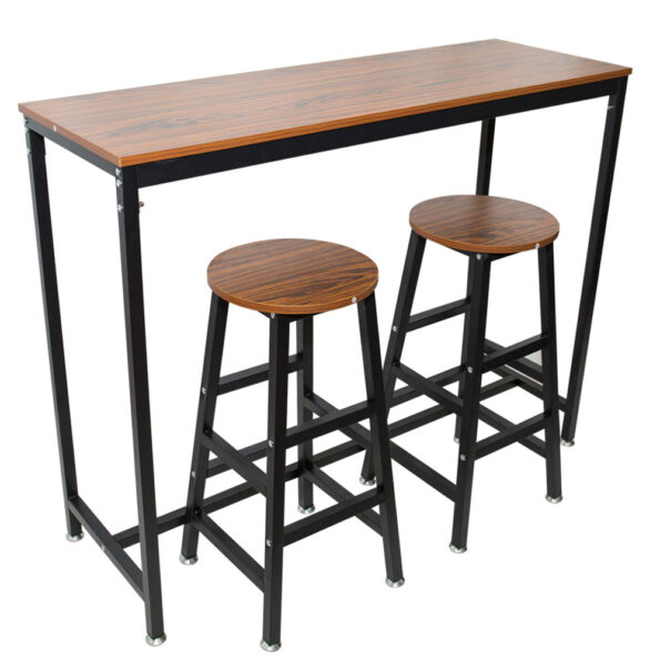 Pub-Bars-Wooden-Table-Bar-Stool-Vintage-Rectangular-Table-with-Metal-Frame-Top-Chair-for-Restaurant